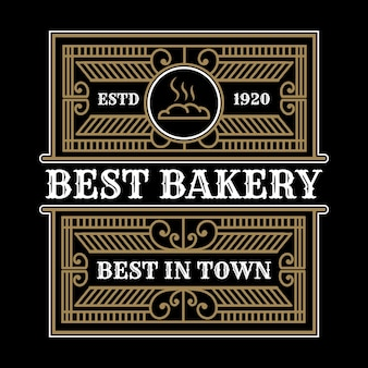 Modèle de logo de magasin de boulangerie vintage de luxe héraldique avec cadre d'emblème ornemental décoratif