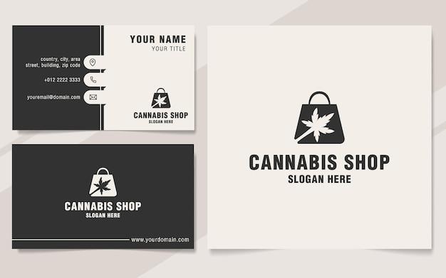 Modèle de logo de magasin de cannabis sur le style monogramme