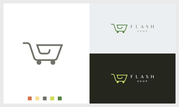 Modèle de logo de magasin ou de chariot avec une forme simple