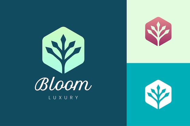 Modèle de logo de magasin de légumes ou de ferme biologique avec une forme de plante simple et propre