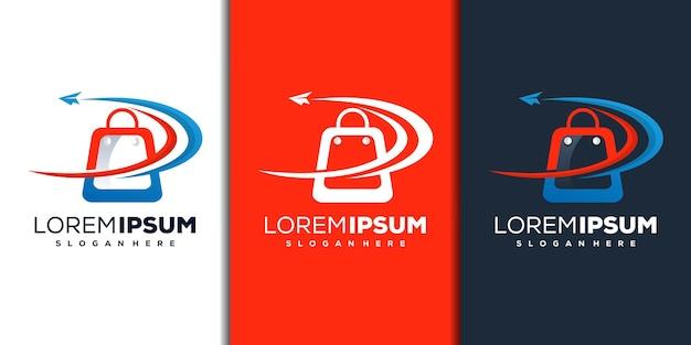 Modèle de logo de magasin moderne et d'avion en papier