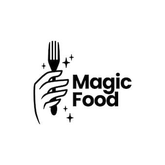 Modèle de logo de main de fourchette de nourriture magique