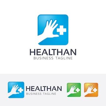 Modèle de logo de main de santé