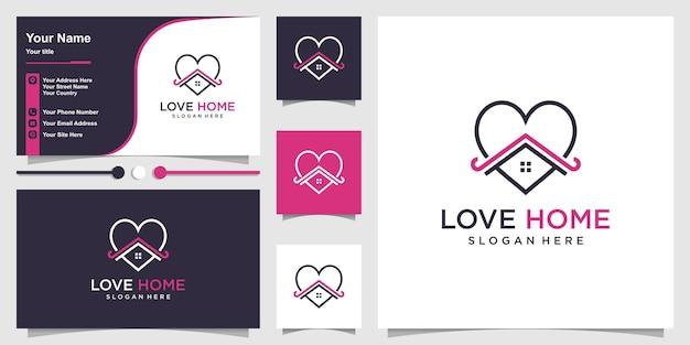 Modèle de logo de maison d'amour avec un style d'art au trait unique vecteur premium
