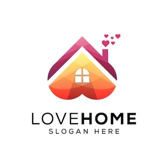 Modèle de logo maison d'amour