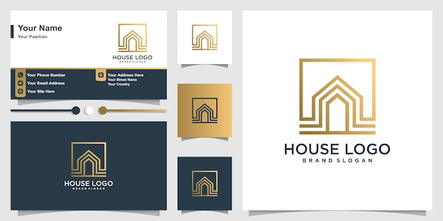 Modèle de logo de maison et carte de visite