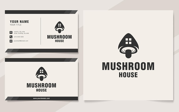 Modèle de logo de maison champignon sur le style monogramme