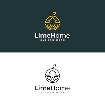 Modèle de logo maison citron vert
