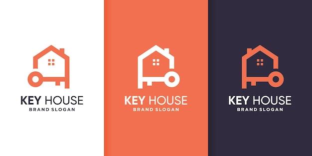 Modèle de logo de maison clé avec style d'art en ligne
