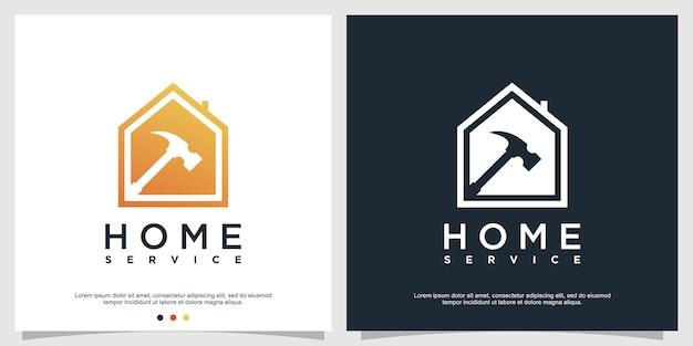 Modèle de logo de maison avec concept de service ou de réparation vecteur premium