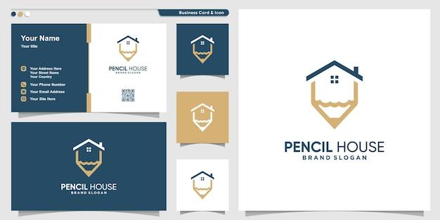 Modèle de logo de maison de crayon avec concept créatif et conception de carte de visite vecteur premium