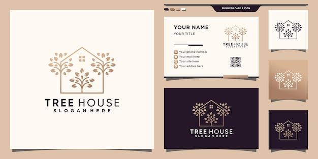 Modèle de logo de maison dans un arbre avec un concept moderne unique et une conception de carte de visite vecteur premium