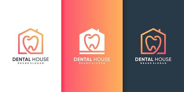 Modèle de logo de maison dentaire avec un concept créatif moderne vecteur premium