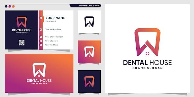 Modèle de logo de maison dentaire avec concept moderne et conception de carte de visite vecteur premium