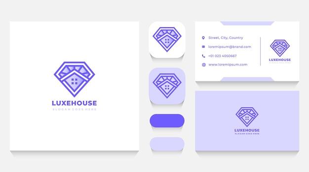 Modèle de logo de maison de diamant de luxe et carte de visite