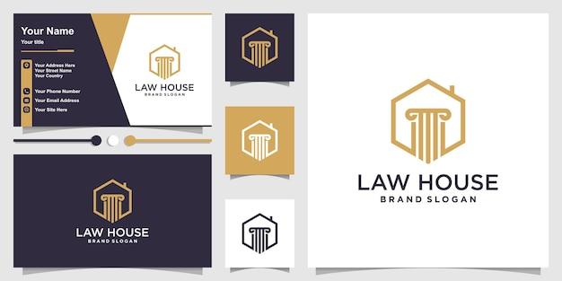 Modèle de logo de maison de droit avec un concept simple vecteur premium