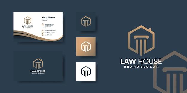 Modèle De Logo De Maison De Droit Vecteur Premium