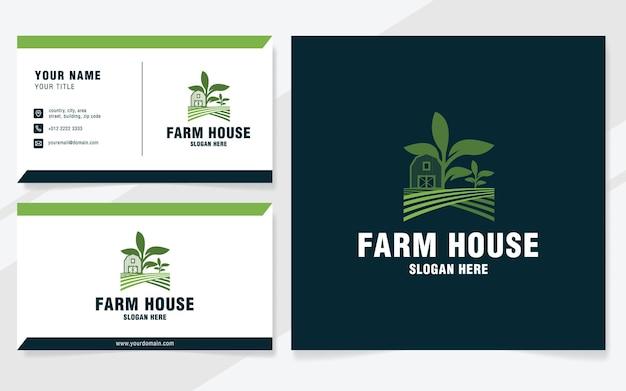 Modèle de logo de maison de ferme sur un style moderne