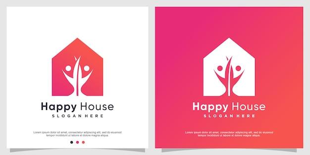 Modèle de logo de maison heureuse pour une famille heureuse vecteur premium