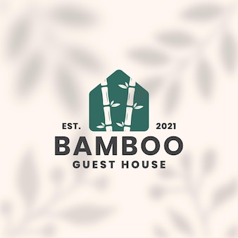 Modèle de logo de maison d'hôtes en bambou
