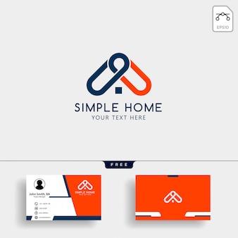 Modèle de logo de maison immobilier avec carte de visite