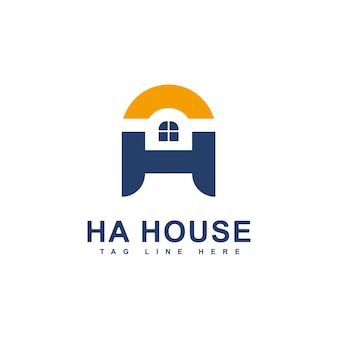 Modèle de logo de maison immobilière ha initiales lettre logo