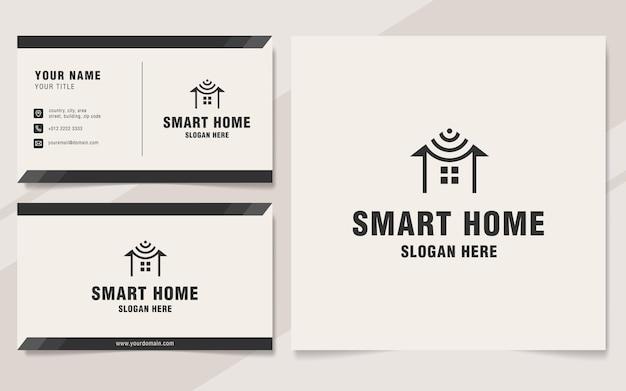 Modèle de logo de maison intelligente sur le style monogramme