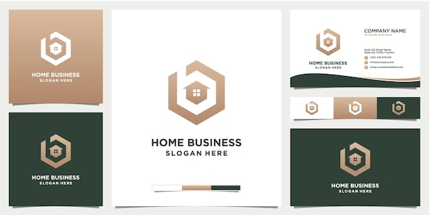 Modèle de logo de maison lettre b avec carte de visite