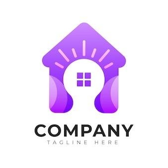 Modèle de logo maison et maison de style dégradé moderne avec concept d'ampoule
