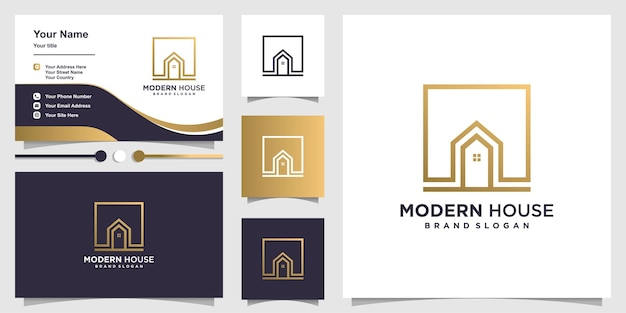 Modèle de logo de maison moderne et carte de visite