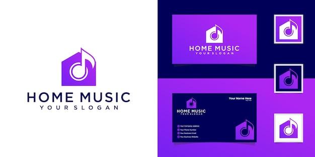 Modèle de logo de maison de musique et carte de visite