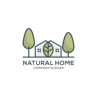 Modèle de logo maison naturelle