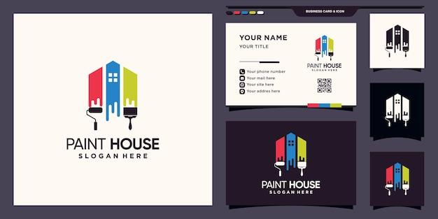 Modèle de logo de maison et de peinture créative avec couleur arc-en-ciel et conception de carte de visite