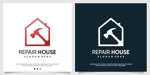 Modèle de logo de maison de réparation avec concept créatif vecteur premium