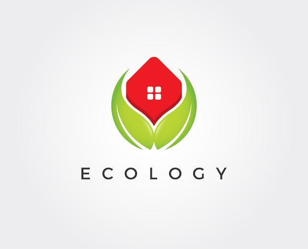 Modèle de logo de maison vert minimal