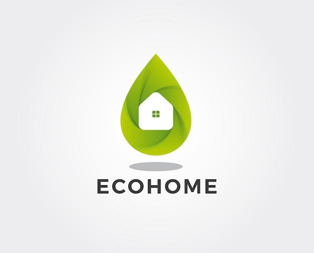 Modèle de logo maison verte minimale