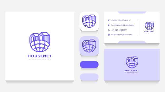 Modèle de logo de maisons de réseau et carte de visite