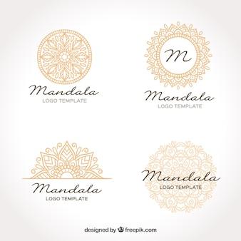 Modèle de logo en mandala d'or