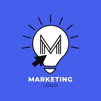 Modèle de logo marketing avec ampoule