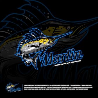 Modèle de logo marlin sport team