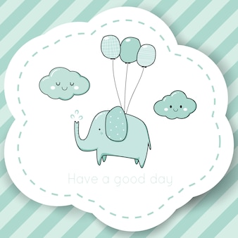 Modèle de logo de marque pour le dessin animé mignon bébé douche éléphant doodle