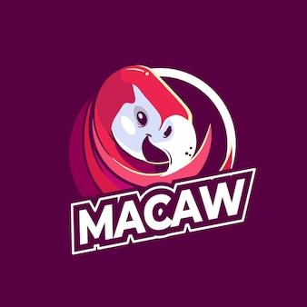 Modèle de logo de mascotte d'ara