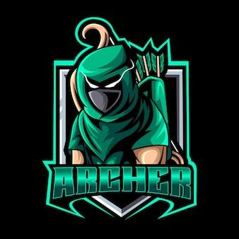 Modèle de logo de mascotte archer