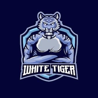 Modèle de logo de mascotte argent tigre