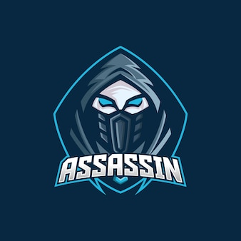 Modèle de logo de mascotte assassin esport gaming