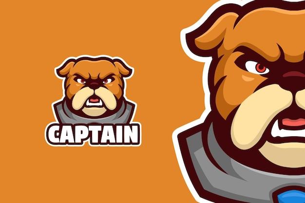 Modèle de logo de mascotte de bouledogue