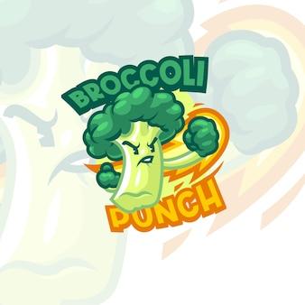 Modèle de logo de mascotte de brocoli