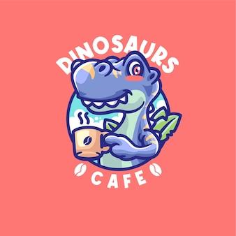 Modèle de logo de mascotte de café buvant des dinosaures
