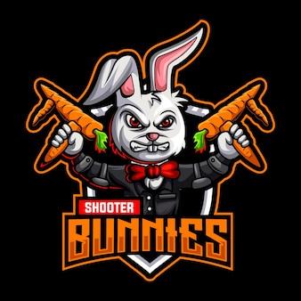Modèle de logo de mascotte de carotte de pistolet de lapins