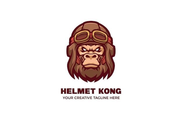 Modèle de logo de mascotte de casque d'avion kong wear